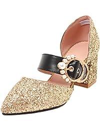 AIYOUMEI Damen Glitter High Heels Mary Jane Blockabsatz Riemchen Pumps mit Schnalle Geschlossene Sandalen