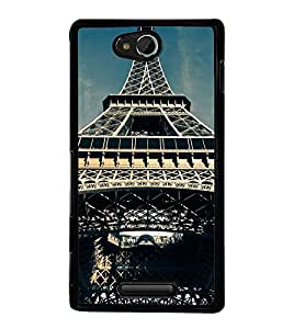 Fuson Premium 2D Back Case Cover Eiffel tower With green Background Degined For Sony Xperia C