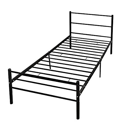 Bed Frame, HST Mall Single Metal Bed Frame Solid Bedstead Base-3ft-for Child or Adults-2 Headboards-Deep Black
