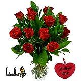 FLORESLOWCOST Ramo DE 12 Rosas Rojas Naturales Frescas + CORAZÓN I Love You + AÑADE TU DEDICATORIA Personalizada Gratis + Entrega EN 24H