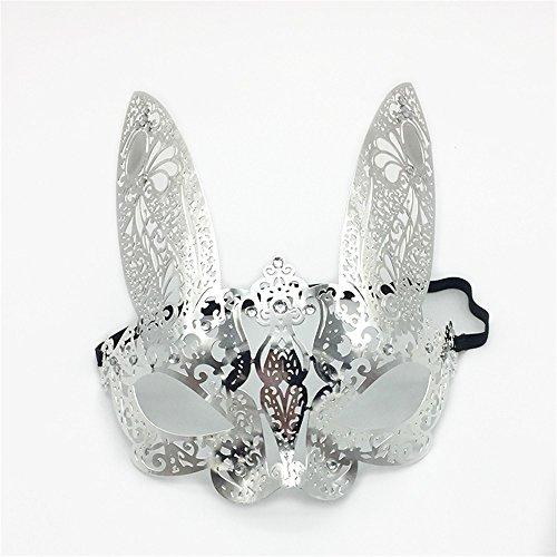 oenix Party Maske Kaninchen Gesicht männlich und Weiblich Halb Gesicht Venedig Metall schmiedeeisen Maske, Silber ()