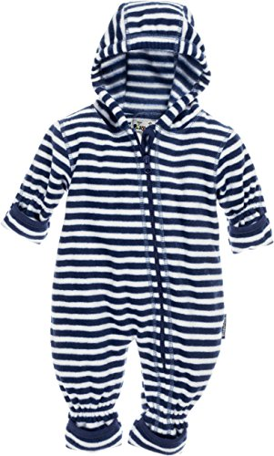 Playshoes Unisex Baby Schneeanzug Fleece-Overall Maritim, Blau (Marine/weiß 171), 62