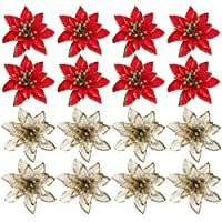 Toyvian 24pcs Christmas Glitter Poinsettia Artificial Faux Poinsettia Flowers Christmas Tree Ornaments Hanging Decoration for Wedding Holiday Christmas Wreath Decor