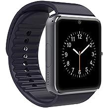 LaTEC Reloj inteligente de pulsera, Smartwatch con Bluetooth, cámara, ranura para SIM y ranura para tarjeta micro SD, podómetro, Reloj inteligente de pulsera para Smartphones de Android (Negro)