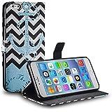 tinxi® Kunstleder Tasche für Apple iPhone 6 plus/6s plus 5.5 zoll Tasche Flipcase Schutzhülle Cover Schale Etui Skin Standfunktion mit Karten Slot Welle in weiß und Schwarz