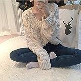 HDYS La mujer suéter de lana de color sólido clásico con cuello en V ,beige de manga larga,un tamaño