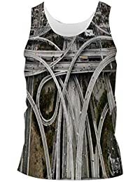 Snoogg Zig Zag Roads Mens Casual Beach Fitness Vests Tank Tops Sleeveless T shirts