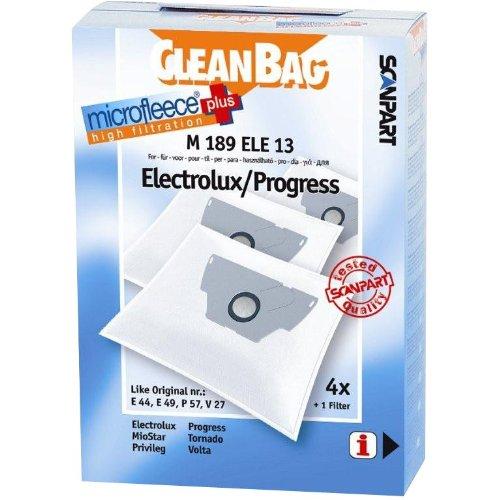 Cleanbag m189ele13 2682241189 - sacchetti per aspirapolvere, ricambi non originali, compatibili con aspirapolvere electrolux e progress (equivalenti agli originali progress e49)