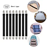 GOODTIMES Adjustable Bed Sheet Straps Suspenders Elastic Sheet Fasteners Grippers Suspenders Clips for Flat & Fitted Sheet Corner Holder,Ironing Board Cover, Mattress, Cribs, Sofa Cushion& More(