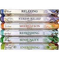 120 Sticks of Stamford Premium Aromatherapy Hex Range Incense Sticks - Relaxing, Stress Relief, Meditation, Refreshing, Sensuality & Energising Incense gift pack.