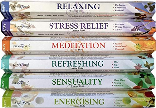 120 Sticks of Stamford Premium Aromatherapy Hex Range Incense Sticks - Relaxing, Stress Relief, Meditation, Refreshing, Sensuality & Energising Incense gift pack. -