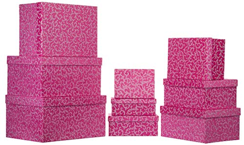 Brandsseller Geschenkbox Aufbewahrungsbox Karton mit Deckel - Stabiler Karton Jacquard Stoffüberzug- 9er Set in absteigender Größe Pink