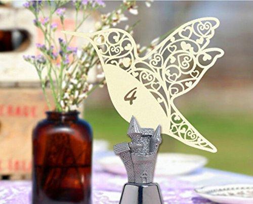 beccy. Steve 50PCS laser Cut avorio colibrì segnaposto per matrimoni