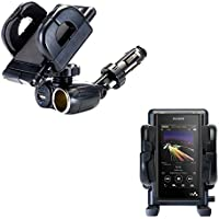 Unique Auto Cigarette Lighter and USB Charger Mounting System Includes Adjustable Holder for the Sony Walkman NW-WM1Z