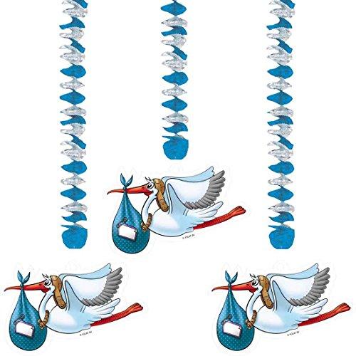 Hängedeko Geburt Junge Deko Spiralen Storch 3tlg Klapperstorch Wirbel Neugeborene Deckenhänger Pullerparty