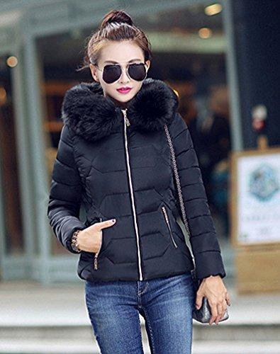 Yiiquan Donna Giubbino con Cappuccio di Pelliccia Faux Cerniera Imbottito Invernale Calda Giacca Cappotto Nero # 1