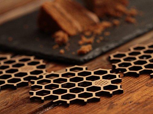 Dessous de Verre en Bois Bambou, table mat pour coupe bière et tasse café en forme d'alvéole d'abeilles, décor creative et design (Lot de 6 hexagonal)