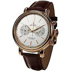"'Poljot int. Cronógrafo reloj de hombre ""Classic dorados cuerda manual mecánico banda de piel Russian Watch"