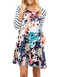 Winwintom Otoño Moda Mujeres Chicas Vestido Estampado Estampado De Flores Vestido Largo De Manga Larga Vestido