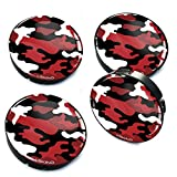 4 x 60mm Silikon Nabenkappen Kappen Camouflage Rot Felgendeckel Radkappen Radnabendeckel Nabendeckel Auto Tuning A 98