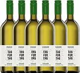 6er Paket - Tag für Tag Scheurebe halbtrocken 1,0 l 2018 - Frankhof Weinkontor | halbtrockener Weißwein | deutscher Sommerwein aus der Pfalz | 6 x 1,00 Liter