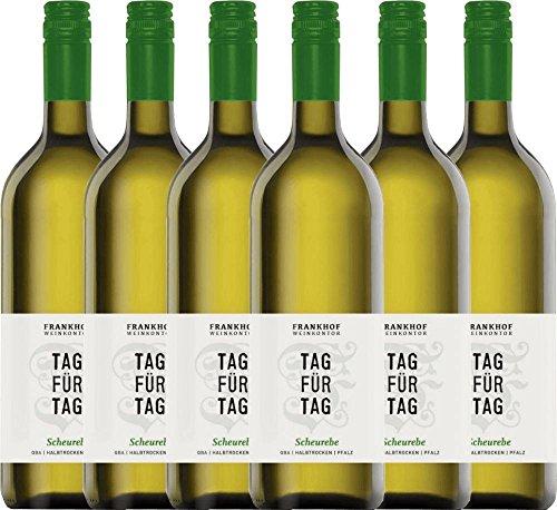 6er Paket - Tag für Tag Scheurebe halbtrocken 1,0 l 2017 - Frankhof Weinkontor   halbtrockener Weißwein   deutscher Sommerwein aus der Pfalz   6 x 1,00 Liter