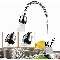 Grifo Sola Mano Fregadero Cocina Fregadero Caliente y Agua Fría 2Boquillas un Flujo Variable 360° Caño Baño Grifo con Ducha Spray Twolights