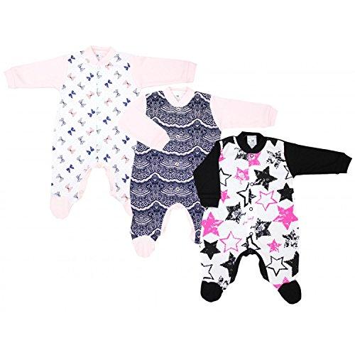 TupTam Unisex Baby Schlafstrampler Baumwolle 3er Pack, Farbe: Mädchen 2, Größe: 92