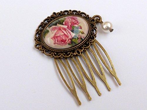 Peigne avec des motifs de roses, coquille perle