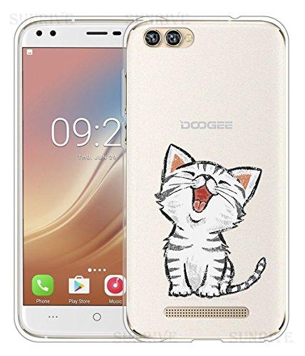 Für DOOGEE X30 Hülle Silikon,Sunrive Handyhülle Schutzhülle Etui Case Backcover für DOOGEE X30(tpu Katze 2)+Gratis Universal Eingabestift