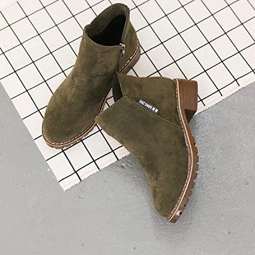 Botas Slouch Para Mujer-Ronamick Botas Martin de Gamuza En Color Liso Para Mujer Botas Cortas Para Mujer Zapatos Para Niños...
