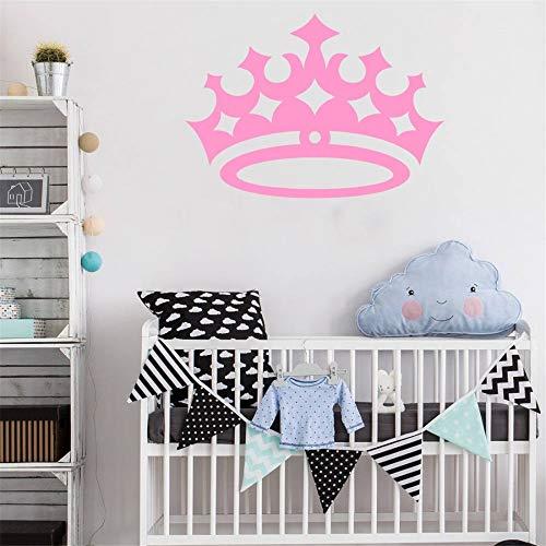 Königin Krone Wandaufkleber Für Mädchen Raumdekoration Vinyl Kunst Schönheit Wandtattoo Abnehmbare Wandaufkleber Rosa 84x59 cm ()