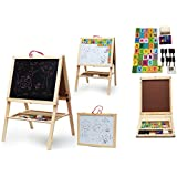 Wishkey 2 In 1 Foldable Wooden Magnetic Double Sided Blackboard And Whiteboard | Easel Board For Learning | Educational Writing And Drawing Board For Kids With Stand,Chalk,Duster,Numbers For Mathematical Calculation And English Alphabets