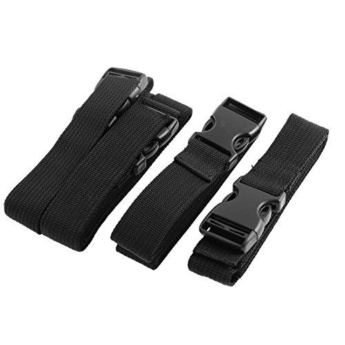 ZCHXD Travel Suitcase Backpack Quick Release Buckle Cross Luggage Strap Belt 4 Pcs Black