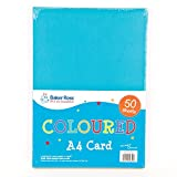 Baker Ross A4 Coloured Card (Pack of 50, 220 gsm) For Crafting Activities and Decoration Making
