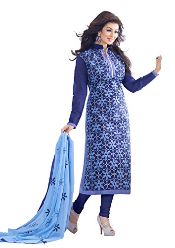 Blissta Blue Chanderi Embroidered Wedding wear Dress Material