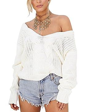 Mujeres V-cuello profundo Suéter De Punto De Con Manga Larga suéter halter pullover Blanco XL