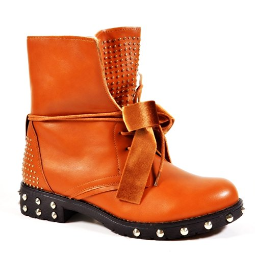 King Of Shoes, Bottes Motardes Femme Camel 79