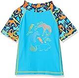 DIMO-TEX Sun Baby-Jungen Schwimmshirt Schwimm-Shirt 1/4-Arm UV-Schutz 50, Mehrfarbig (Türkis, AOP Tiere), 98