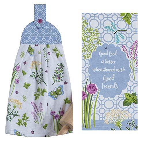 FAKKOS Design Schmetterlingshandtücher Set - Kräutergarten Terry Küche Krawatte Handtuch und passendes Geschirrtuch 100% Baumwolle (Küche Handtücher Kräuter)