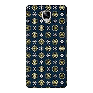 CrazyInk Premium 3D Back Cover for Oneplus Three T - Blue Background Christmas Snowflakes