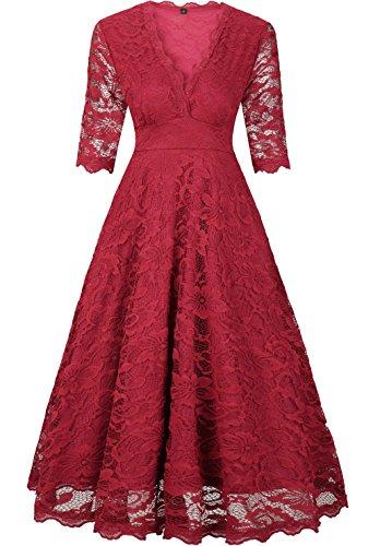 EVA Elegant Damenkleid Spitzenkleid knielanges Sommerkleid Herbstkleid festliches Partykleid Ballkleid Abendkleid Cocktailpartykleid 1950er mit 1/2 langen Ärmeln und V-Ausschnitt- Gr.  XXL/EU(40-42), Rot