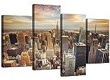 Kunstdruck auf Leinwand von New York Skyline für Ihr Wohnzimmer–4Panel American City Art Wand–4202–Wallfillers®