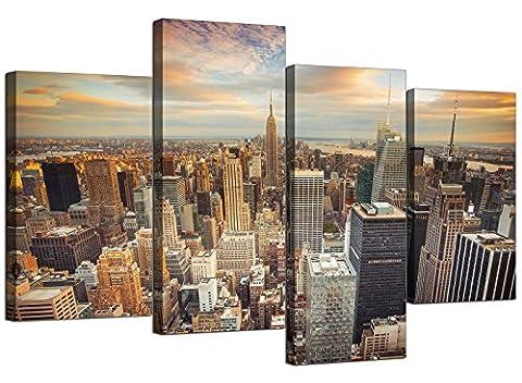 Wallfillers 4202 Impressions sur toile Motif skyline de New York pour votre salle de séjour–4Panneaux Art mural ville