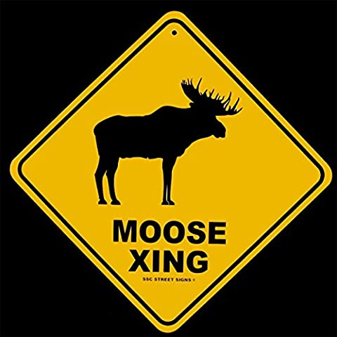 Moose Crossing Log Cabin Lodge Decor Alum Street Sign