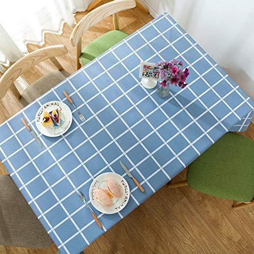 YCTZ Pvc-Tischdecke Wachstuch Rechteckig, HitzebestäNdig, Wasserdicht Und öLbestäNdig Blau Kariert 200×140 cm (Blau Kunststoff Karierte Tischdecke,)