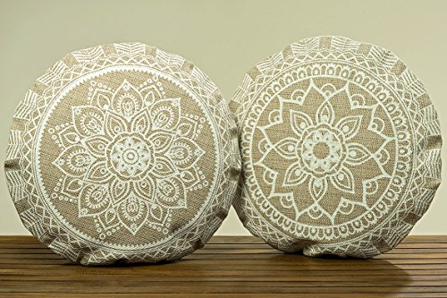 Unbekannt Set di 2 cuscini da terra - seduta comoda in stile indiano - arredamento, decorazione - motivo: Mandala - D56cm