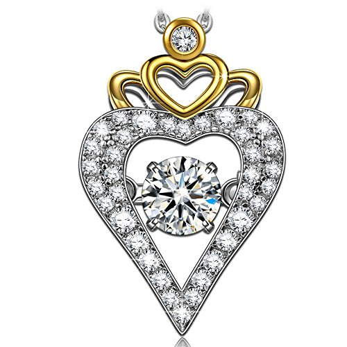 Dancing Heart Krone der Liebe Damen Kette Silber 925 Anhänger Halskette Schmuck Geschenk für Valentinstag Muttertag Geburtstag Abschluss Verlobung Jubiläum Mutter Tochter Sie (Juwel Auf Der Krone)