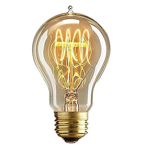 Lugii Cube Creative LED Culot à vis E27/E26ampoule à incandescence réglable Pointe effilée rétro décoratifs Edison tungstène ampoule à filament, 110V