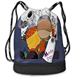 Juzijiang Couples Movie Day Large Drawstring Sport Backpack Sack Bag Sackpack